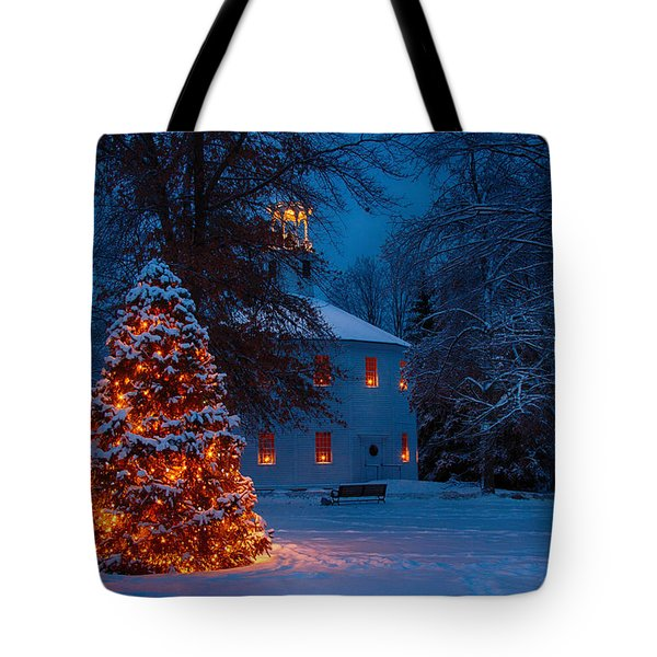 Tote Bag featuring the photograph Christmas At The Richmond Round Church by Jeff Folger