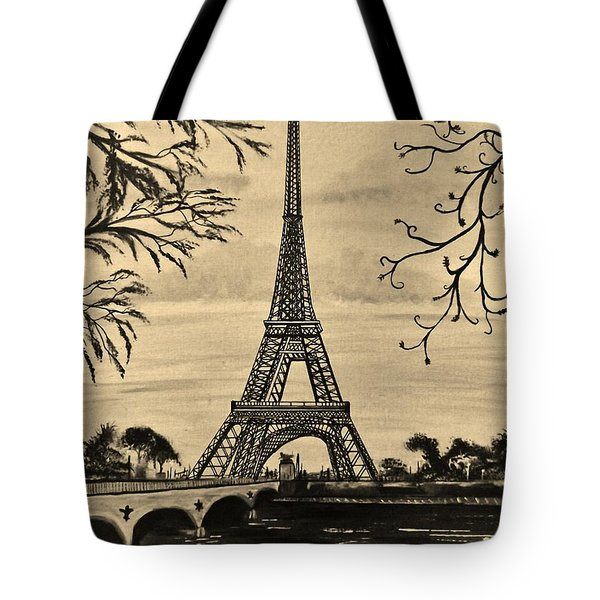 Tote Bag featuring the painting Dreaming Of Paris 2 by Brigitte Emme