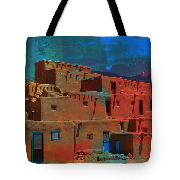 Tote Bag featuring the mixed media Dreams Of Taos by Michelle Dallocchio