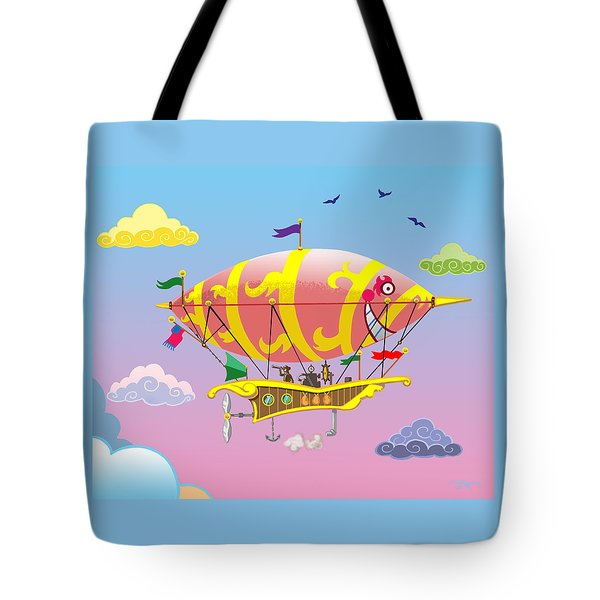 Tote Bag featuring the mixed media Rainbow Steampunk Dreamship by J L Meadows