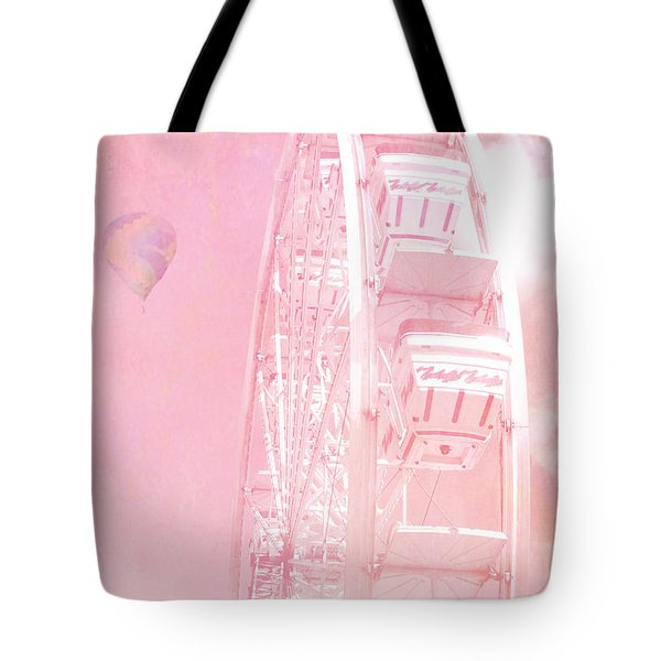 Dreamy Baby Pink Ferris Wheel Carnival Art With Hot Air Balloons Tote Bag