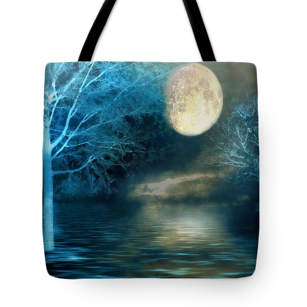 Dreamy Blue Moon Nature Trees - Surreal Full Blue Moon Nature Trees Fantasy Art Tote Bag