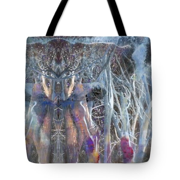 Dreamy Blue Up-dog Yoga Art Tote Bag