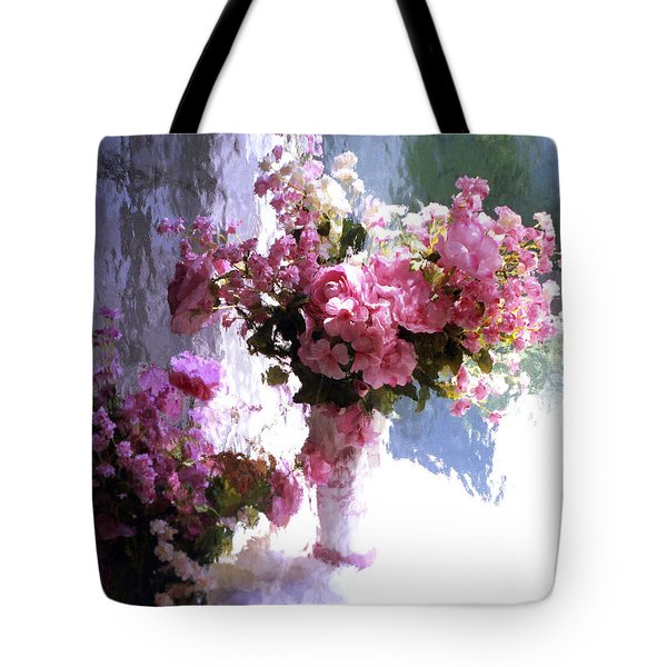 Dreamy Cottage Chic Impressionistic Flowers - Pink Roses Pink Vases Tote Bag
