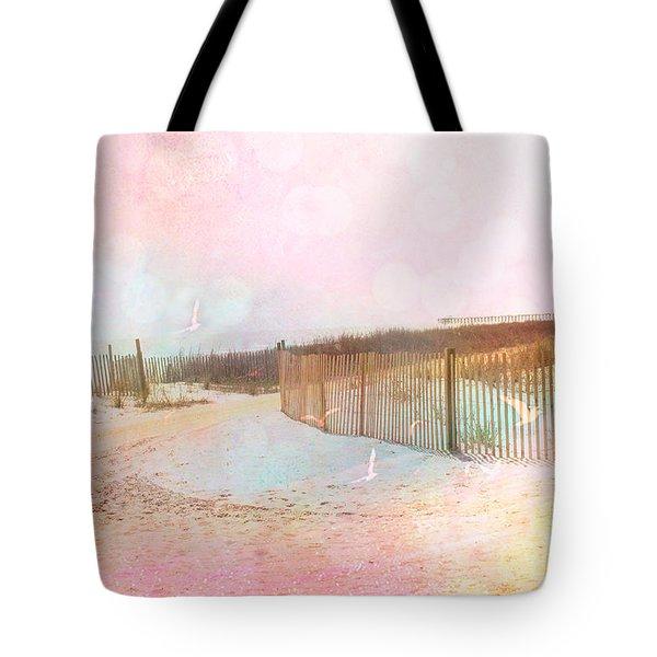 Dreamy Cottage Summer Beach Ocean Coastal Art Tote Bag by Kathy Fornal