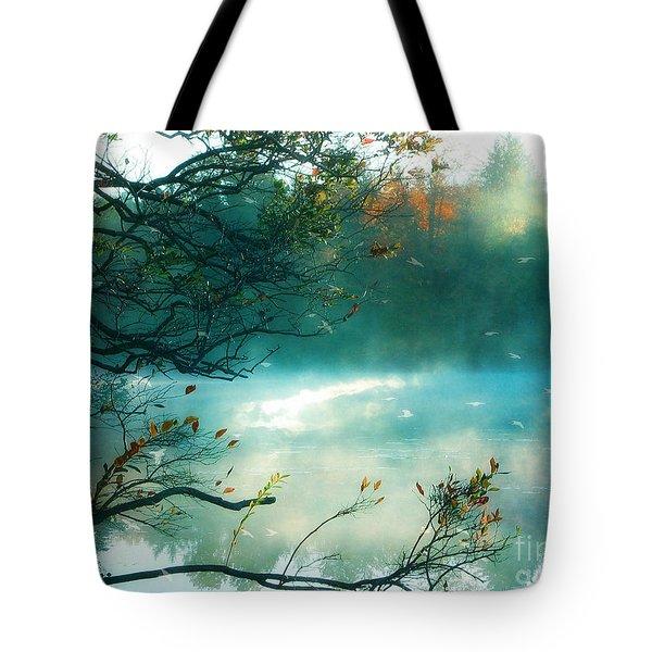 Dreamy Nature Aqua Teal Fog Pond Landscape - Aqua Turquoise Fall Autumn Nature Decor  Tote Bag