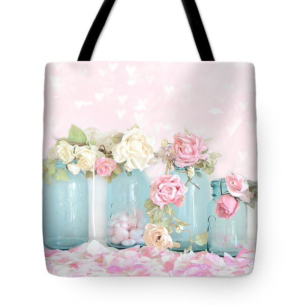 Dreamy Shabby Chic Pink White Roses  - Vintage Aqua Teal Ball Jars Romantic Floral Roses  Tote Bag by Kathy Fornal