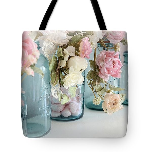 Shabby Chic Roses Blue Aqua Ball Mason Jars - Roses In Aqua Blue Mason Jars - Shabby Chic Decor Tote Bag