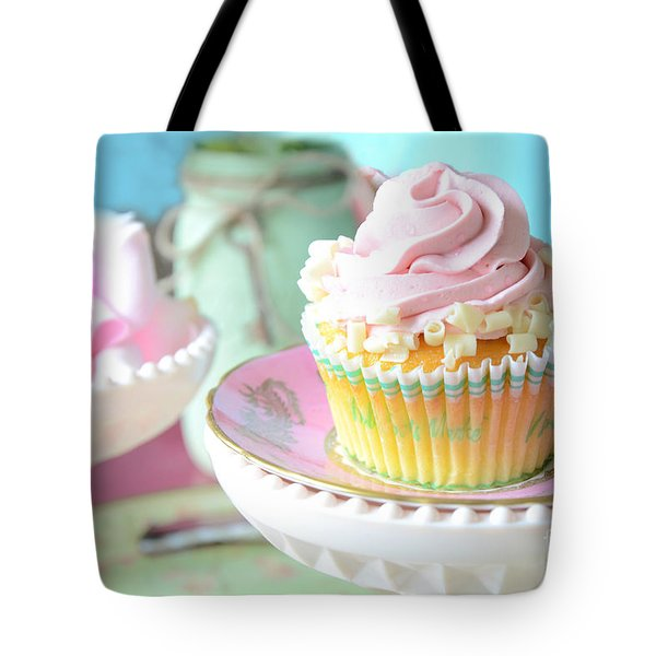 Dreamy Shabby Chic Cupcake Vintage Romantic Food And Floral Photography - Pink Teal Aqua Blue  Tote Bag by Kathy Fornal