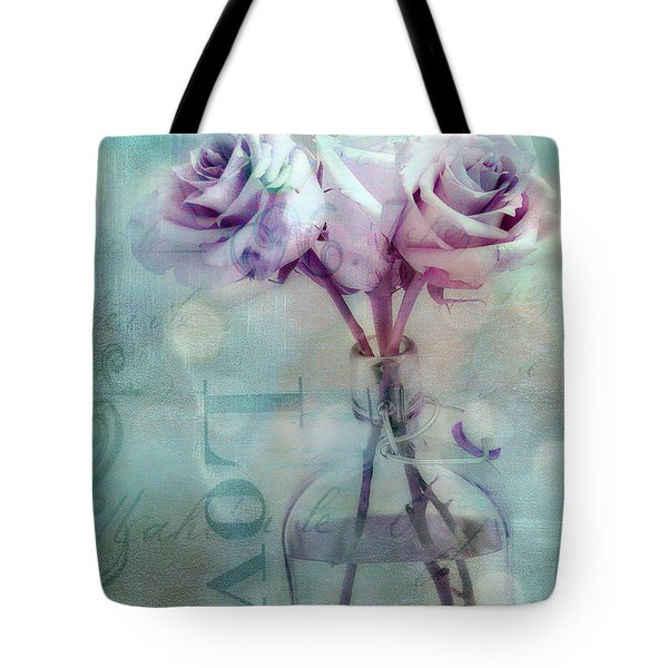 Roses Dreamy Shabby Chic Pink Roses Teal Aqua Impressionistic Cottage Pink Aqua Teal Love Roses Tote Bag