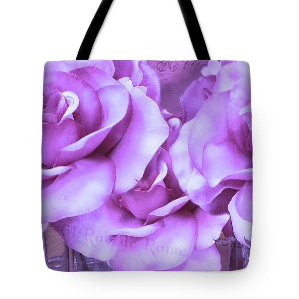Dreamy Shabby Chic Purple Lavender Paris Roses - Dreamy Lavender Roses Cottage Floral Art Tote Bag