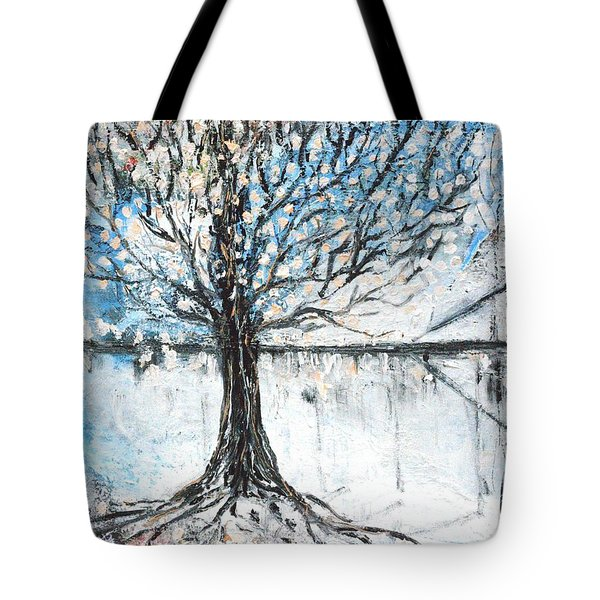Tote Bag featuring the painting Dreamy Spring by Evelina Popilian