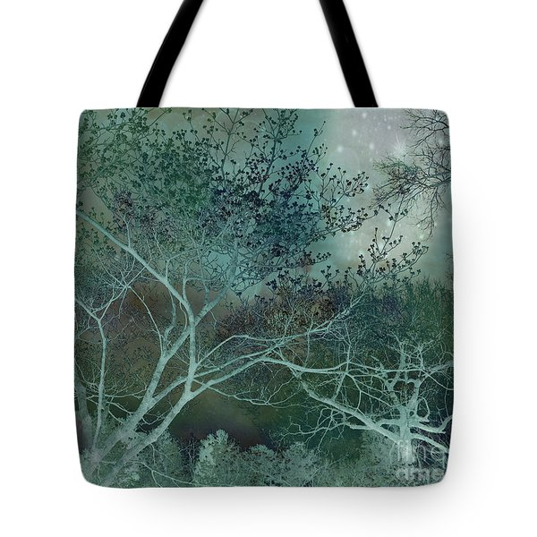 Dreamy Surreal Fantasy Teal Aqua Trees Nature  Tote Bag
