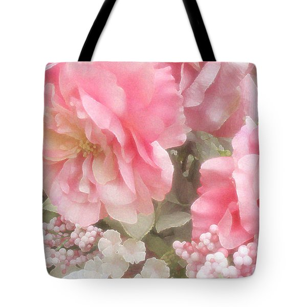 Dreamy Vintage Cottage Shabby Chic Pink Roses - Romantic Roses Tote Bag by Kathy Fornal