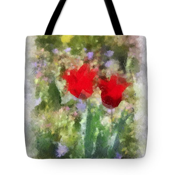 Tote Bag featuring the painting Dressed In Red  by Kerri Farley