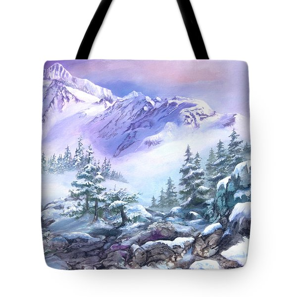 Tote Bag featuring the painting Dressed In White Mount Shuksan by Sherry Shipley
