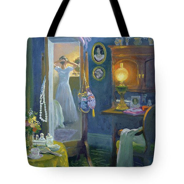 Dressing Room Victorian Style Oil On Board Tote Bag