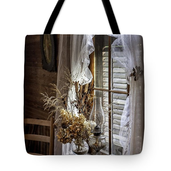 Dried Flowers And Oil Lamp Still Life Tote Bag by Lynn Palmer