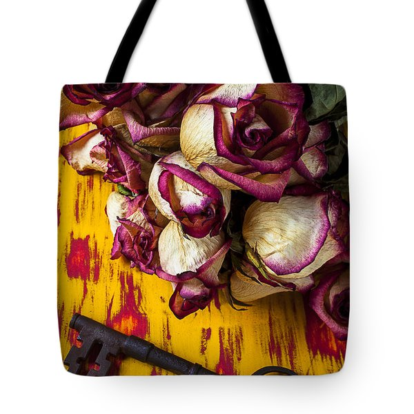 Dried Pink Roses And Key Tote Bag by Garry Gay