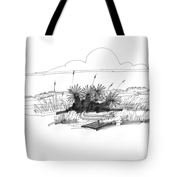 Tote Bag featuring the drawing Drift Wood And Yucca Plants by Richard Wambach