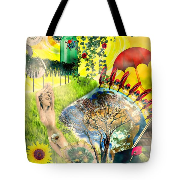 Tote Bag featuring the mixed media Drifting Away by Ally  White