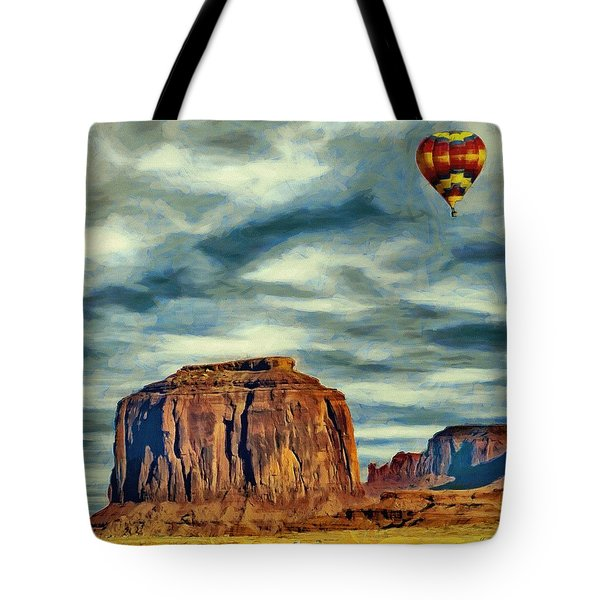 Tote Bag featuring the painting Drifting Over Monument Valley by Jeff Kolker