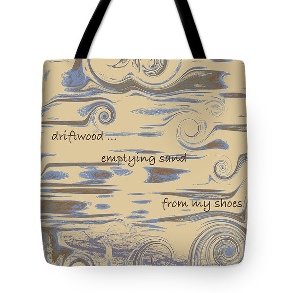 Tote Bag featuring the digital art Driftwood Haiga by Judi Suni Hall