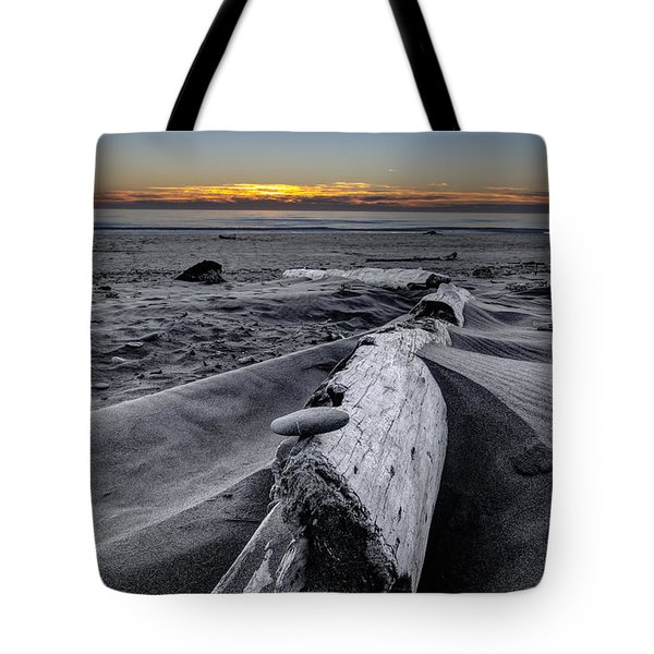 Driftwood In The Sand Tote Bag by Debra and Dave Vanderlaan