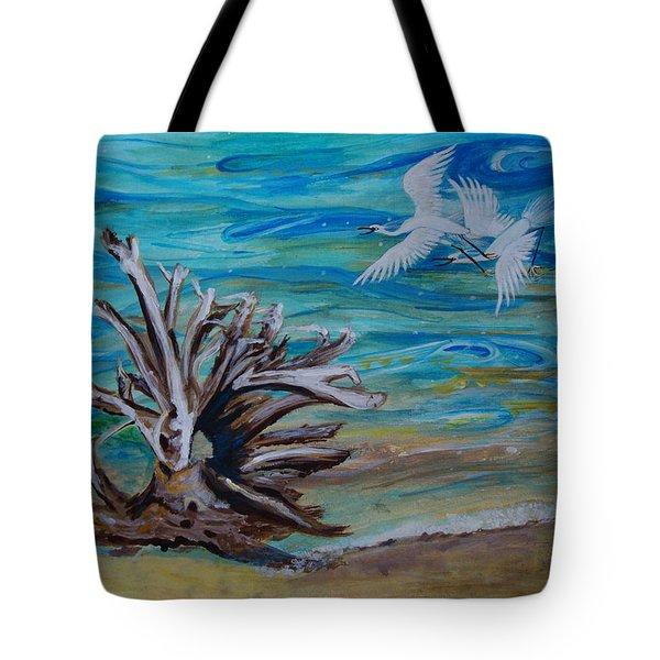 Driftwood On Lake Huron Tote Bag by Veronica Rickard