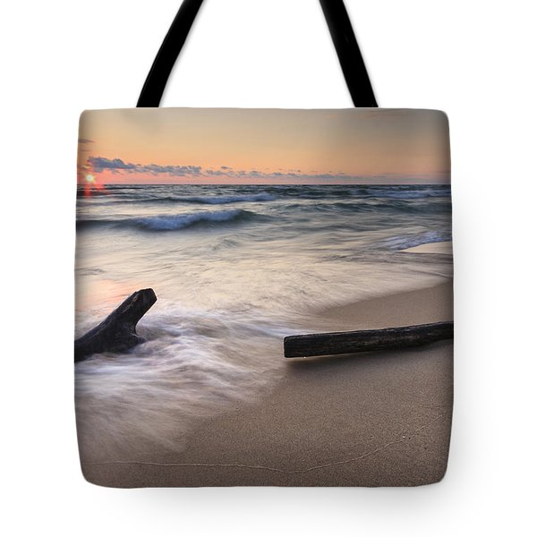 Driftwood On The Beach Tote Bag by Adam Romanowicz