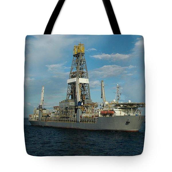 Drill Ship And Platform Tote Bag