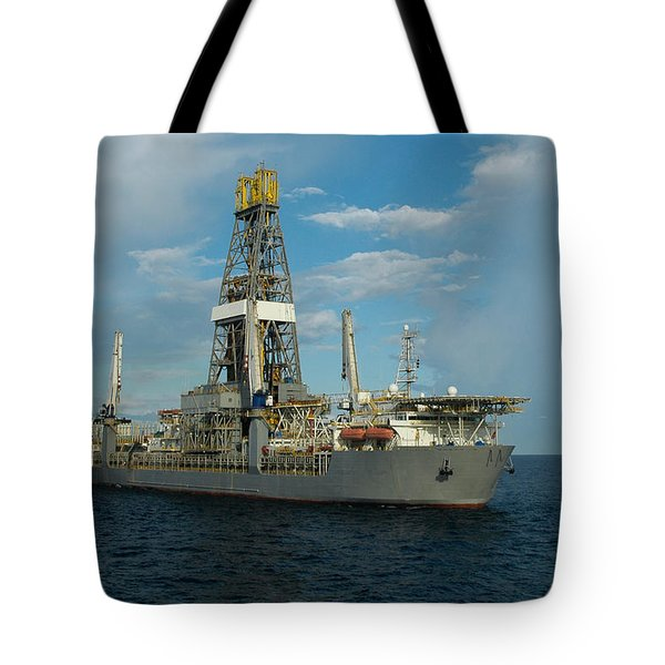 Drill Ship And Platform Tote Bag