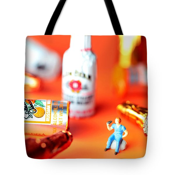 Drinking Among Liquor Filled Chocolate Bottles Tote Bag by Paul Ge
