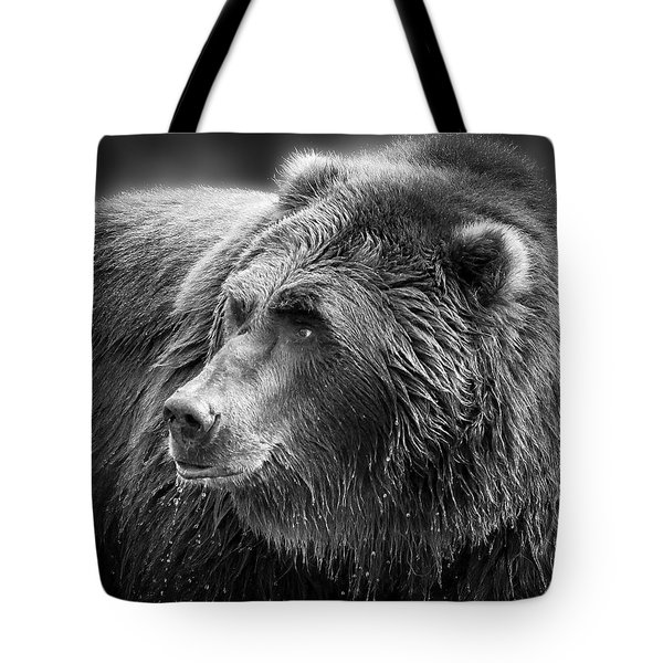Drinking Grizzly Bear Black And White Tote Bag by Steve McKinzie