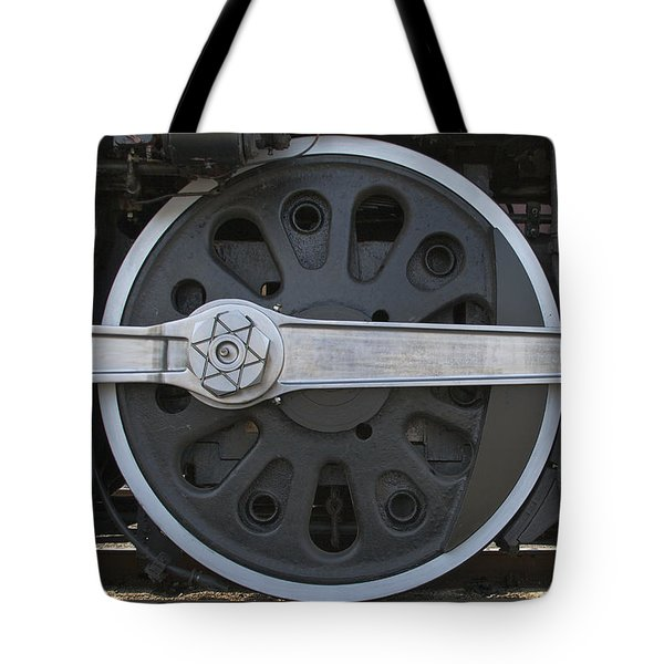 Driving Wheel On Vintage Train Tote Bag