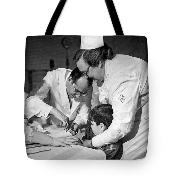 Dr.jonas Salk Giving Vaccine Tote Bag