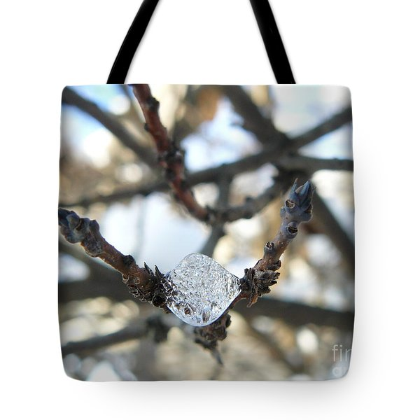 Tote Bag featuring the photograph Drop Of Ice by Jane Ford