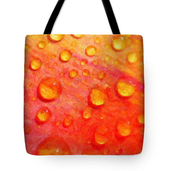 Drops On Flower Petals Tote Bag by Tommytechno Sweden