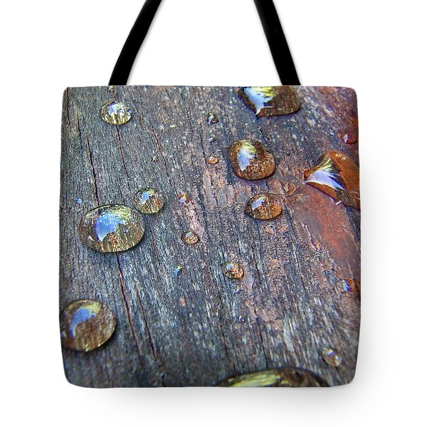 Drops On Wood Tote Bag
