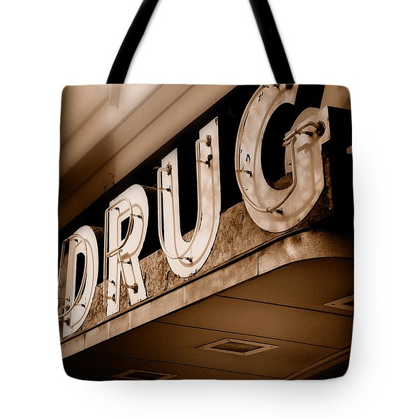 Drug Store Sign - Vintage Downtown Pharmacy Tote Bag