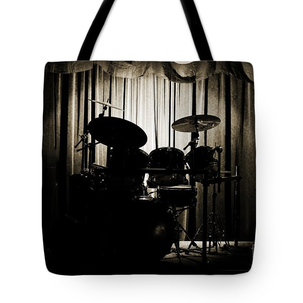 Drum Set On Stage Photograph Combo Jazz Sepia 3234.01 Tote Bag by M K  Miller