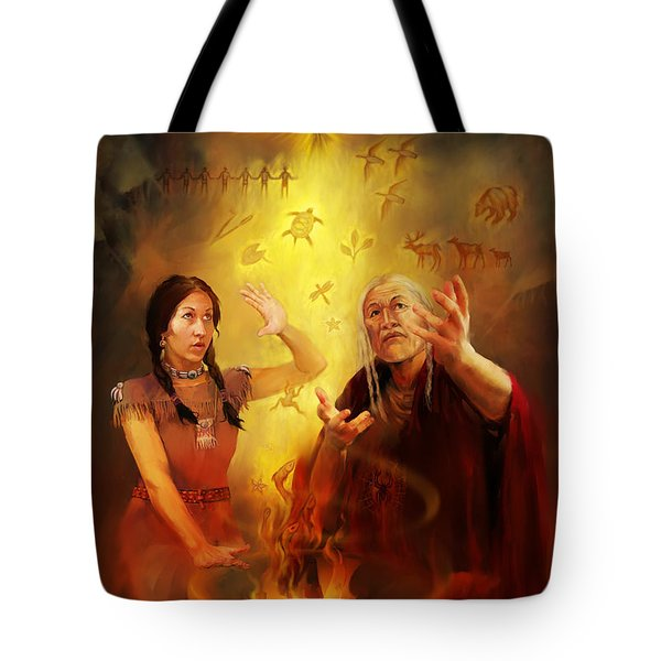 Drum Story Elders Teaching Tote Bag by Rob Corsetti