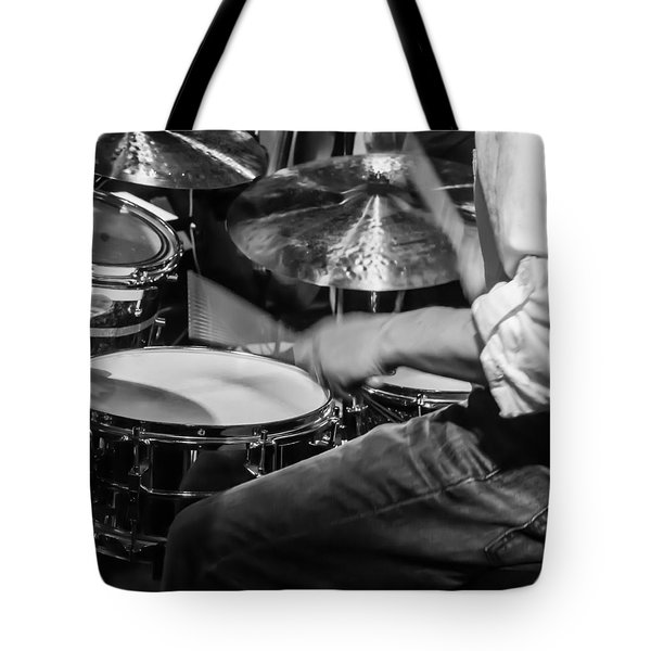 Drummer At Work Tote Bag