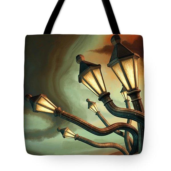 Drunk Streetlamps Tote Bag by Remus Brailoiu