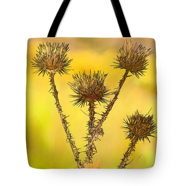 Dry Brown Thistle Tote Bag