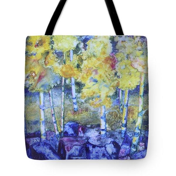 Dry Creek Aspens Tote Bag by Nancy Jolley