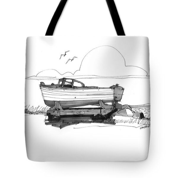 Tote Bag featuring the drawing Dry Dock In Ocracoke Nc 1970s by Richard Wambach