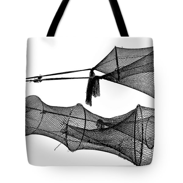 Drying Fishing Trap Nets On Poles Tote Bag by Niels Quist