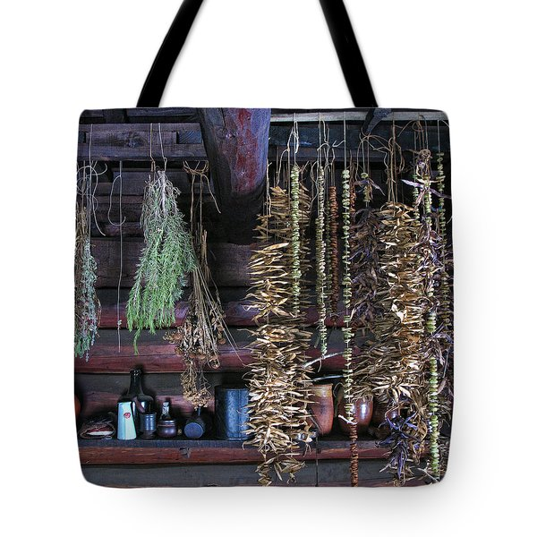 Drying Herbs And Vegetables In Williamsburg Tote Bag
