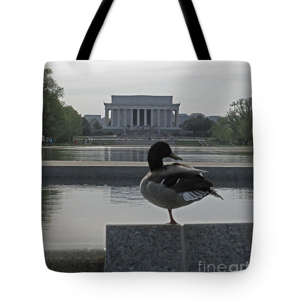 Duck And Lincoln Memorial   #0850 Tote Bag